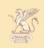 Griffin, seated on an Ionic column - hand draw sketch. Bitmap copy my vector id 84067078