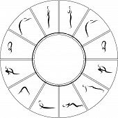 stock photo of surya  - Vector Illustration of Yoga Surya Namaskara cycle - JPG