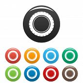 Single Tire Icon. Simple Illustration Of Single Tire Vector Icons Set Color Isolated On White poster