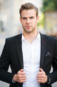 Businessman On The Go. Man Well Groomed Elegant Formal Suit Walks Urban Background. Businessman Seri poster