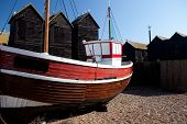 Fishing Boat Red Ship Moored In Hastings Uk