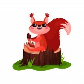 Happy Squirrel Sitting On Tree Stump And Eating Delicious Ice-cream. Cartoon Character Of Small Anim poster