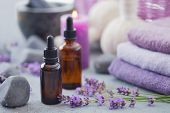 bottle of aromatherapy lavender oil with lavender flowers - beauty treatment poster