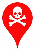 Danger Zone Map Marker Vector Icon. Flat Danger Zone Map Marker Symbol Is Isolated On A White Backgr poster