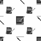 Set Pen Line, Blank Notebook And Pen And Blank Notebook And Pencil With Eraser On Seamless Pattern.  poster