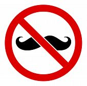 No Curly Mustache Vector Icon. Flat No Curly Mustache Pictogram Is Isolated On A White Background. poster