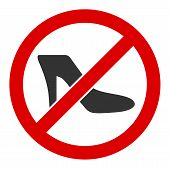 No Lady Shoe Vector Icon. Flat No Lady Shoe Pictogram Is Isolated On A White Background. poster