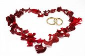 Wedding Rings In A Red Heart