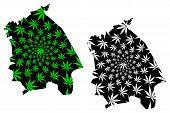 Pavlodar Region (republic Of Kazakhstan, Regions Of Kazakhstan) Map Is Designed Cannabis Leaf Green  poster
