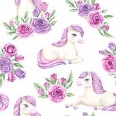 Watercolor Seamless Pattern With Flowers And Pony. Background With Pink Blossoming Roses And Unicorn poster