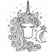 Unicorn In A Wreath Of Stars With A Long Mane. Fantasy Animal. Vector poster