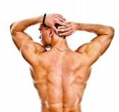 The Muscular Bodybuilder Back. Isolated On White.