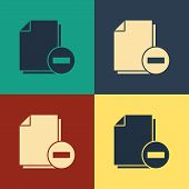 Color Document With Minus Icon Isolated On Color Background. Clear Document. Remove File Document. D poster