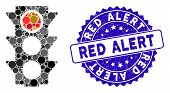 Mosaic Red Traffic Lights Icon And Rubber Stamp Watermark With Red Alert Phrase. Mosaic Vector Is Co poster