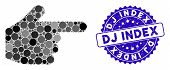 Mosaic Index Finger Icon And Grunge Stamp Watermark With Dj Index Caption. Mosaic Vector Is Created  poster