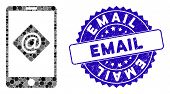 Mosaic Mobile Email Icon And Corroded Stamp Seal With Email Phrase. Mosaic Vector Is Created From Mo poster