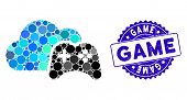 Mosaic Cloud Game Controller Icon And Corroded Stamp Watermark With Game Text. Mosaic Vector Is Comp poster