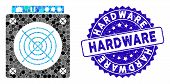 Collage Mining Asic Hardware Icon And Distressed Stamp Seal With Hardware Text. Mosaic Vector Is Com poster