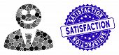 Mosaic Glad Boss Icon And Rubber Stamp Seal With Satisfaction Text. Mosaic Vector Is Formed With Gla poster