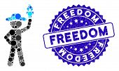 Mosaic Gentleman With Freedom Torch Icon And Grunge Stamp Watermark With Freedom Phrase. Mosaic Vect poster