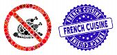 Mosaic No Chicken Dish Icon And Rubber Stamp Watermark With French Cuisine Text. Mosaic Vector Is Cr poster