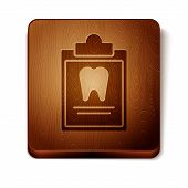 Brown Clipboard With Dental Card Or Patient Medical Records Icon Isolated On White Background. Denta poster