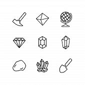 Geology Icons Set For Science, School, University. Linear Style. Geological Hammer, Shovel, Globe, C poster