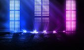 Background Of Empty Show Scene. Empty Dark Modern Abstract Neon Background. Glow Of Neon Lights On A poster