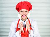 Woman Chef Cooking Hold Wooden Spoon. Try Delicious Meal. Healthy Recipes. Healthy Ration. Woman Pro poster