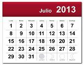 Spanish version of July 2013 calendar