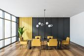 Gray And Yellow Dining Room Interior poster