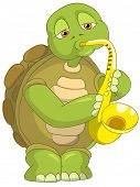 Cartoon Character Funny Turtle Isolated on White Background. Saxophonist. Vector EPS 10.