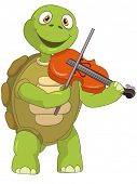 Cartoon Character Funny Turtle Isolated on White Background. Violinist. Vector EPS 10.