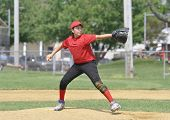 stock photo of little-league  - little league baseball pitcher on the pitcher - JPG