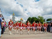 SUMY - JUNE 28: Female Brass Band performing at celebration of the Day of Constitution of Ukraine on