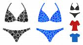 Bikini Mosaic Of Spheric Dots In Variable Sizes And Shades, Based On Bikini Icon. Vector Round Dots  poster