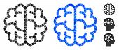 Brain Mosaic Of Small Circles In Different Sizes And Color Tinges, Based On Brain Icon. Vector Small poster