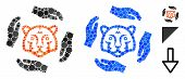 Save Tigers Mosaic Of Round Dots In Variable Sizes And Shades, Based On Save Tigers Icon. Vector Rou poster