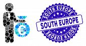 Collage Euro Banker Icon And Rubber Stamp Seal With South Europe Phrase. Mosaic Vector Is Formed Wit poster