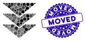 Mosaic Downloads Direction Icon And Corroded Stamp Seal With Moved Caption. Mosaic Vector Is Designe poster