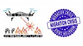 Mosaic Laser Drone Attacks Village Icon And Corroded Stamp Seal With Migration Crisis Phrase. Mosaic poster