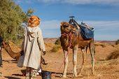 Berber Man In National Dress Stands Near A Camel, Sahara Desert, Morocco, Africa poster