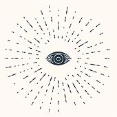 Grey Reddish Eye Due To Viral, Bacterial Or Allergic Conjunctivitis Icon Isolated On Beige Backgroun poster