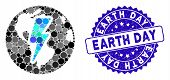 Mosaic Earth Shock Icon And Distressed Stamp Seal With Earth Day Text. Mosaic Vector Is Formed With  poster