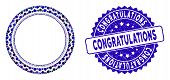 Mosaic Round Rosette Seal Icon And Rubber Stamp Seal With Congratulations Text. Mosaic Vector Is Des poster