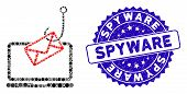 Mosaic Laptop Mail Phishing Icon And Rubber Stamp Seal With Spyware Phrase. Mosaic Vector Is Created poster