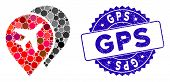 Mosaic Airport Markers Icon And Rubber Stamp Seal With Gps Phrase. Mosaic Vector Is Formed With Airp poster