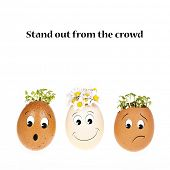 Stand out from the crowd concept. Three eggheads with cartoon faces, two with the usual cress hair and one with hair of daisies.