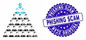 Mosaic Ponzi Pyramid Scheme Icon And Distressed Stamp Seal With Phishing Scam Caption. Mosaic Vector poster