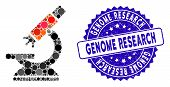 Collage Labs Microscope Icon And Grunge Stamp Watermark With Genome Research Phrase. Mosaic Vector I poster